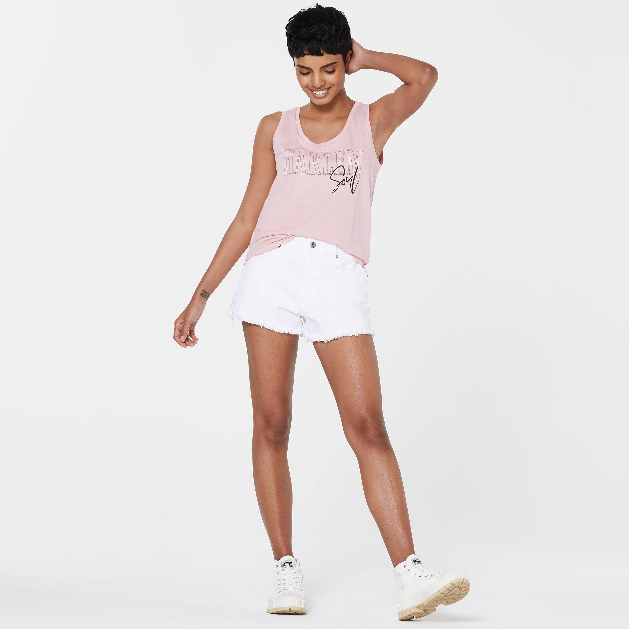 SE-LIA High Waist Jeansshorts optic white